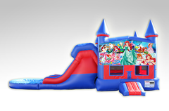 Little Mermaid Red and Blue Bounce House Combo w/Dual Lane Water Slide