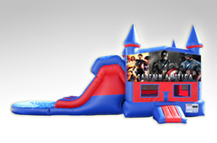 Captain America Red and Blue Bounce House Combo w/Dual Lane Water Slide