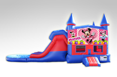 Minnie Mouse Red and Blue Bounce House Combo w/Dual Lane Water Slide