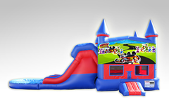 Mickey Mouse Roadster Red and Blue Bounce House Combo w/Dual Lane Water Slide
