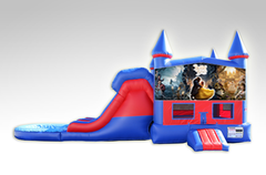 Beauty and the Beast Red and Blue Bounce House Combo w/Dual Lane Water Slide