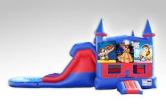 Beauty and the Beast Original Red and Blue Bounce House Combo w/Dual Lane Water Slide