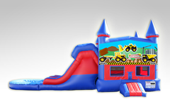 Construction Trucks Red and Blue Bounce House Combo w/Dual Lane Water Slide