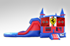 Ferrari Red and Blue Bounce House Combo w/Dual Lane Water Slide