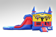 Lego Batman Red and Blue Bounce House Combo w/Dual Lane Water Slide