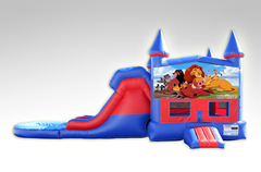 Lion King Red and Blue Bounce House Combo w/Dual Lane Water Slide
