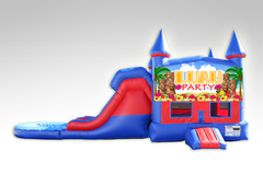 Luau Party Red and Blue Bounce House Combo w/Dual Lane Water Slide