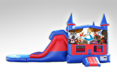 Alice in Wonderland Red and Blue Bounce House Combo w/Dual Lane Water Slide