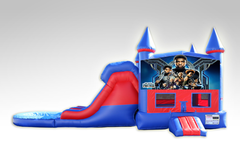 Black Panther Red and Blue Bounce House Combo w/Dual Lane Water Slide