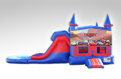 Cars Red and Blue Bounce House Combo w/Dual Lane Water Slide
