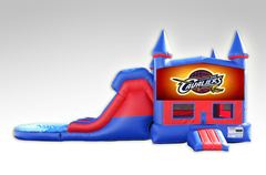 Cavaliers Red and Blue Bounce House Combo w/Dual Lane Water Slide