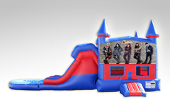 Disney Descendants Batman Red and Blue Bounce House Combo w/Dual Lane Water Slide