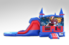 Iron Man Red and Blue Bounce House Combo w/Dual Lane Water Slide