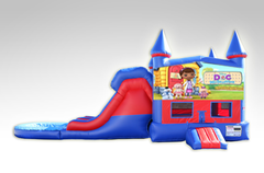 Doc McStuffins Red and Blue Bounce House Combo w/Dual Lane Water Slide