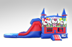 Hello Kitty Red and Blue Bounce House Combo w/Dual Lane Water Slide