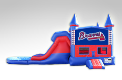 Atlanta Braves Red and Blue Bounce House Combo w/Dual Lane Water Slide