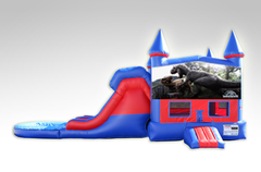 Jurassic World Red and Blue Bounce House Combo w/Dual Lane Water Slide