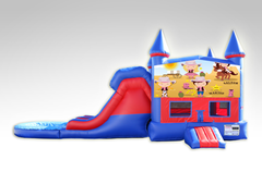 Cowgirl Red and Blue Bounce House Combo w/Dual Lane Water Slide