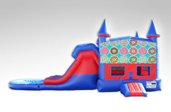 Doughnuts Red and Blue Bounce House Combo w/Dual Lane Water Slide