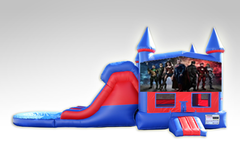 Justice League Red and Blue Bounce House Combo w/Dual Lane Water Slide