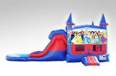 Disney Princess Red and Blue Bounce House Combo w/Dual Lane Water Slide