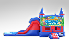 Bubble Guppies Red and Blue Bounce House Combo w/Dual Lane Water Slide