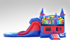 Congratulations Red and Blue Bounce House Combo w/Dual Lane Water Slide