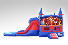 Carnival Red and Blue Bounce House Combo w/Dual Lane Water Slide