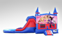 Barbie Red and Blue Bounce House Combo w/Dual Lane Water Slide