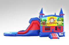 Curious George Red and Blue Bounce House Combo w/Dual Lane Water Slide