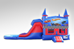 Hot Wheels Red and Blue Bounce House Combo w/Dual Lane Water Slide