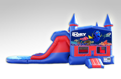 Finding Dory Red and Blue Bounce House Combo w/Dual Lane Water Slide