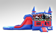 Alabama v. Auburn Red and Blue Bounce House Combo w/Dual Lane Water Slide