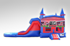 Alabama Red and Blue Bounce House Combo w/Dual Lane Water Slide