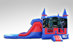 Batman Red and Blue Bounce House Combo w/Dual Lane Water Slide