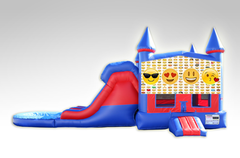 Emojis Red and Blue Bounce House Combo w/Dual Lane Water Slide