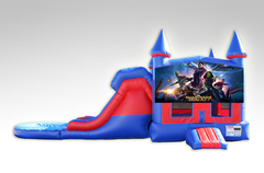 Guardians of the Galaxy Red and Blue Bounce House Combo w/Dual Lane Water Slide
