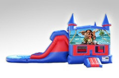 Moana Red and Blue Bounce House Combo w/Dual Lane Water Slide