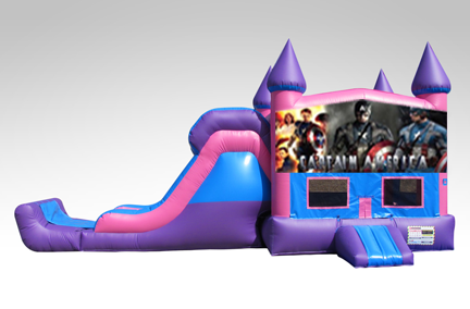 Captain America Pink and Purple Bounce House Combo w/Single Lane Dry Slide