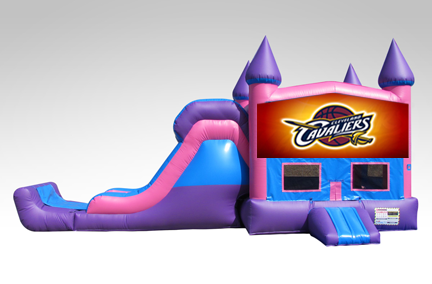 Cleveland Cavaliers Pink and Purple Bounce House Combo w/Single Lane Dry Slide