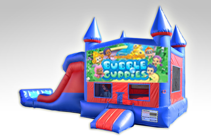 Bubble Guppies Red and Blue Bounce House Combo w/Dual Lane Dry Slide