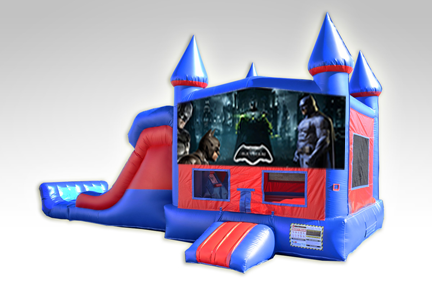 Batman Red and Blue Bounce House Combo w/Dual Lane Dry Slide