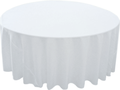 120in White Round Tablecloth (Fits our 60in Round Tables and Cocktail Tables)