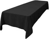 60inx108in Black Tablecloth (Fits our 6ft Long Tables)
