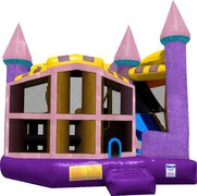 Dazzle Castle 5 in 1 Bounce house with attached slide wet or dry