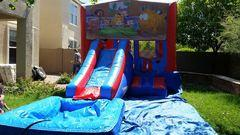 3 in 1 Water Slide, tables, chairs, snowcone pkg