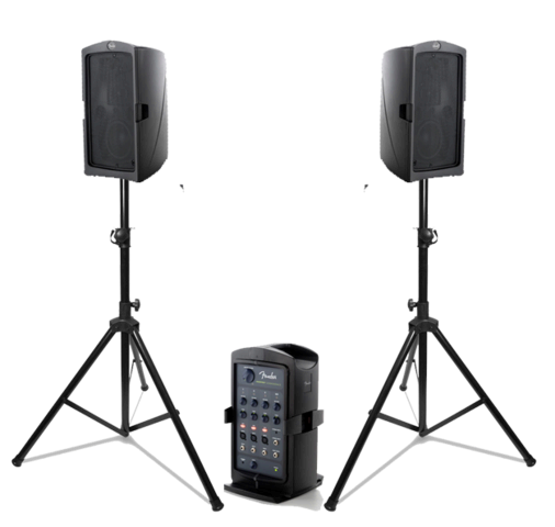 PA System with Stands and Microphone