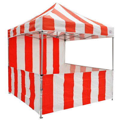 8x8 Red and White Striped Canopy with Sidewalls