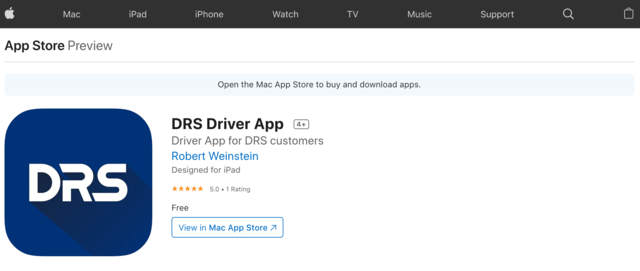 DRS Driver App in the Apple App Store