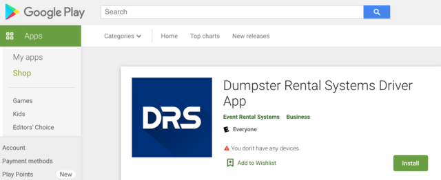 DRS Driver App in the Google Play Store